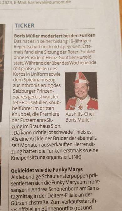 Boris Müller moderiert bei den Roten Funken