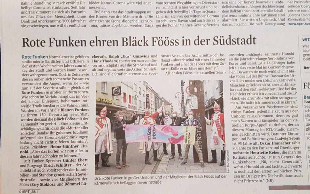 Rote Funken ehren Bläck Fööss in der Südstadt